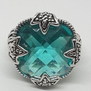 Large chucky ladies ring blue green in color